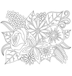 floral doodle coloring page vector image vector image