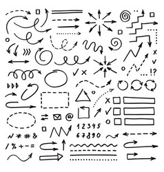 hand drawn arrows set on white background doodle vector image