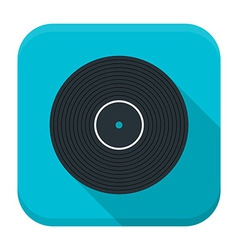 Music vinyl flat app icon with long shadow vector image vector image