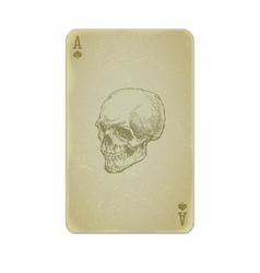 Poker card with skull vector image