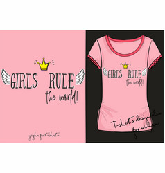 retro rocknroll style girls rule the world vector image