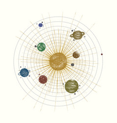 solar system in dotwork style planets in orbit vector image vector image