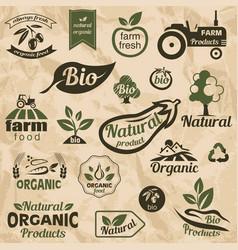 bio organic natural food labels and emblems vector image