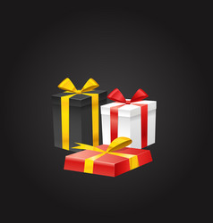 different color gift boxes on black vector image vector image