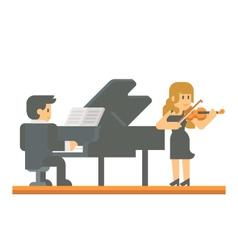 Flat design piano and violin duet vector image
