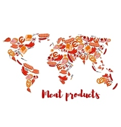 Meat and sausage products shaped as world map vector image