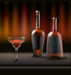 two alcohol bottles vector image