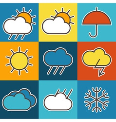 Colorful weather symbols vector image vector image