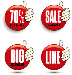 hand holding different sale tags vector image