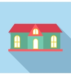 House with red roof icon flat style vector image vector image
