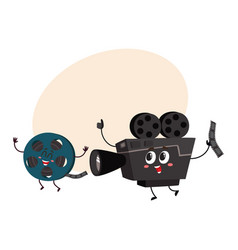 movie shooting camera film reel characters with vector image vector image