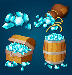 Old wooden chest barrel old bag with gems vector