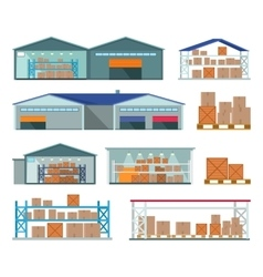 Set of Warehouses for Goods Storing and Delivering vector image