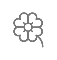 Simple four leaf clover line icon symbol and sign vector