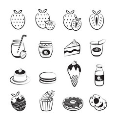 strawberry fruit and product icons set vector image
