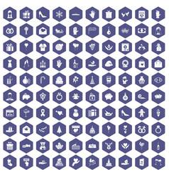 100 gift icons hexagon purple vector image vector image