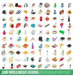 100 wellness icons set isometric 3d style vector image
