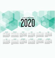2020 modern calendar design with hexagonal vector image