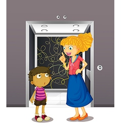 A mother and his son at the elevator vector image