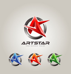 abstract shape letter a star color set vector image