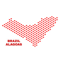 alagoas state map - mosaic of lovely hearts vector image