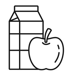 Apple milk pack icon outline style vector