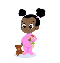 Bagirl in pink pajamas vector
