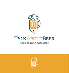 Beer mug and talk bubble logo vector