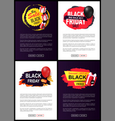 black friday sale tags set site typography pages vector image