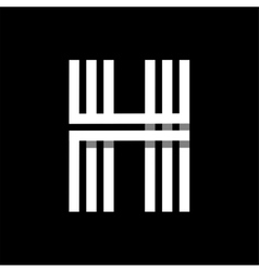 Capital letter H Made of three white stripes vector image
