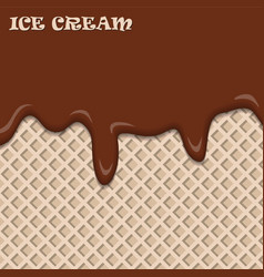 Chocolate ice cream with wafer vintage abstract vector