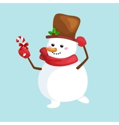 Christmas white snowman in hat and scarf with vector