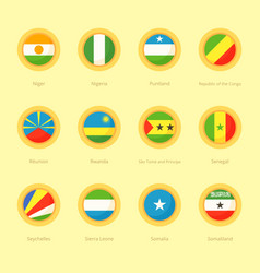 Circular flags of niger nigeria puntland vector