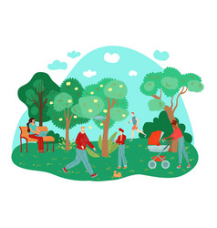 city summer park people outdoor working walking vector image