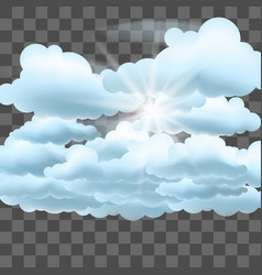 clouds and sun on transparent effect background vector image