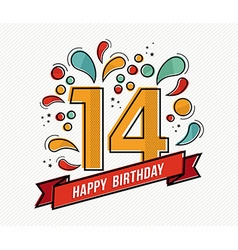Colorful happy birthday number 14 flat line design vector