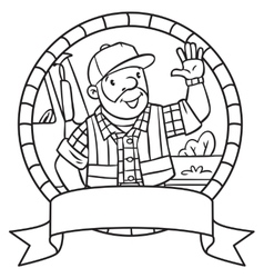 Coloring book of funny driver or worker Emblem vector