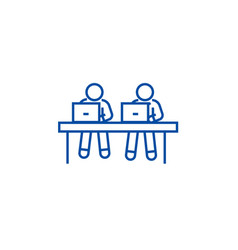 coworking working at laptops line icon concept vector image