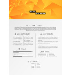 creative simple cv template with orange triangles vector image