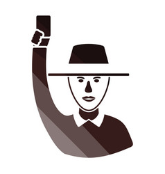 cricket umpire with hand holding card icon vector image
