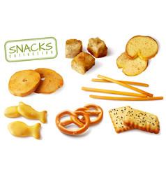 Croutons crackers snacks set vector