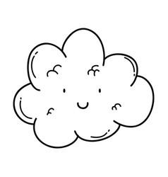Cute cloud cartoon in black and white vector