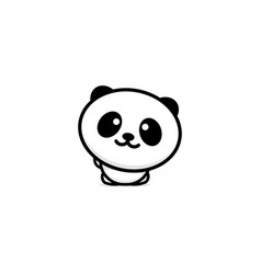 cute panda welcomes waving his hand vector image