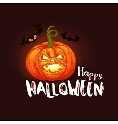 Dark Halloween card with pumpkin and bats vector image