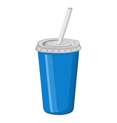 Disposable cup with drinking straw vector