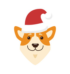 Dogs icon wearing red hat vector