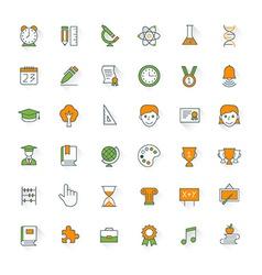 Education flat design icon set Student pencil book vector