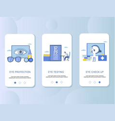 Eye check up mobile app onboarding screens vector