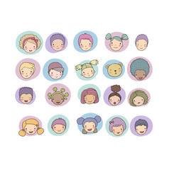 faces of children cute cartoon boys and girls of vector image