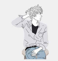 fashion drawing a man sitting on a chair vector image